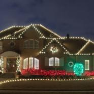 A house in the Tulsa area lit up in Christmas lights and decoration. Christmas light installation was completed by Hook and Ladder, a subsidiary of Nutri-Green.