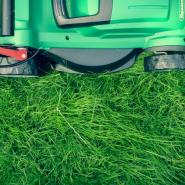 A green push lawn mower on fresh-cut, green, healthy grass in Oklahoma